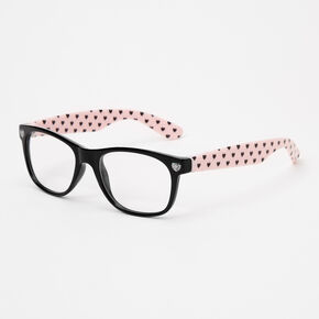Claire's Club Hearts Clear Lens Frames - Pink,