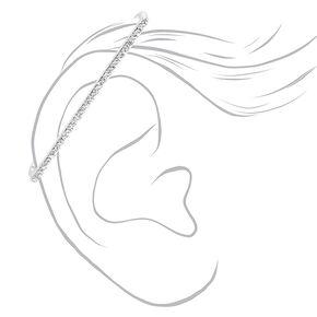 Manchette d'oreille industrielle avec strass couleur argentée,
