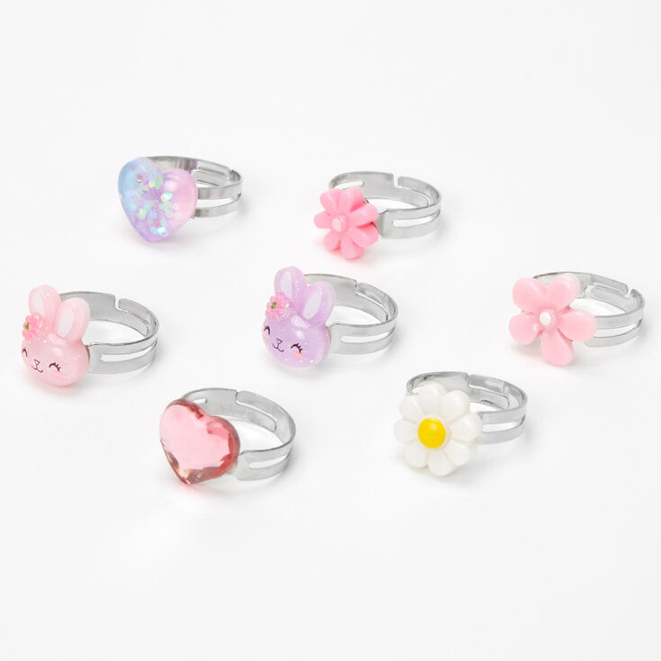 Claire's Club Spring Bunny Rings - Pink, 7 Pack,