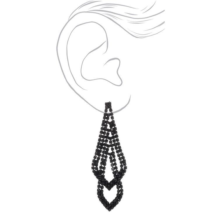 "Black 2.5"" Rhinestone Double Layered Drop Earrings,"