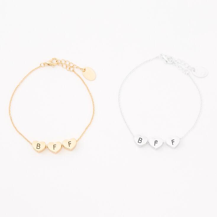 Mixed Metal Heart Chain Friendship Bracelets - 2 Pack,