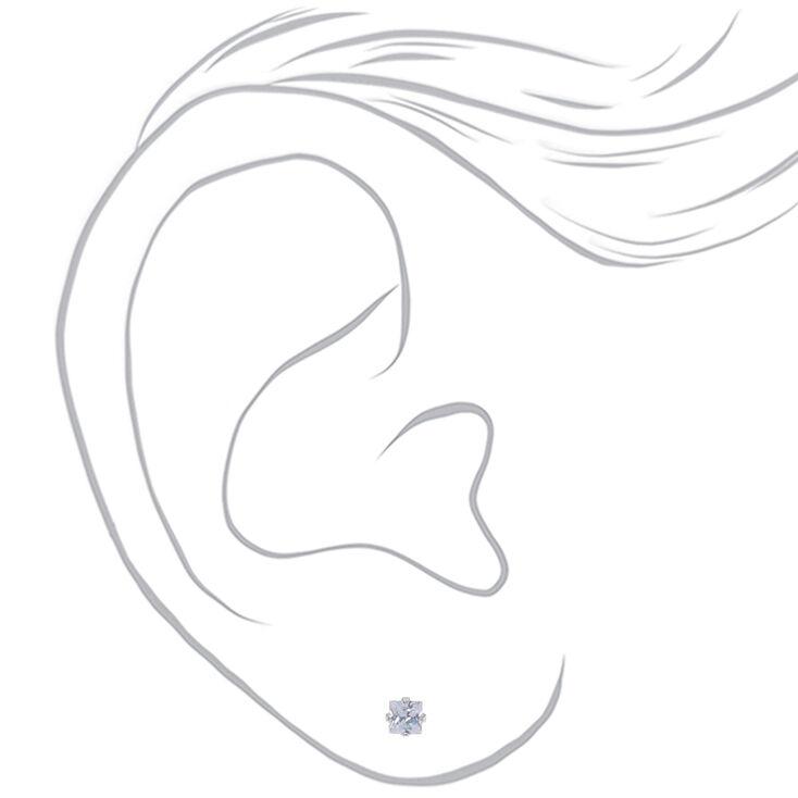 Clous d'oreilles carrés avec strass en zircon cubique d'imitation couleur argentée - 4mm,