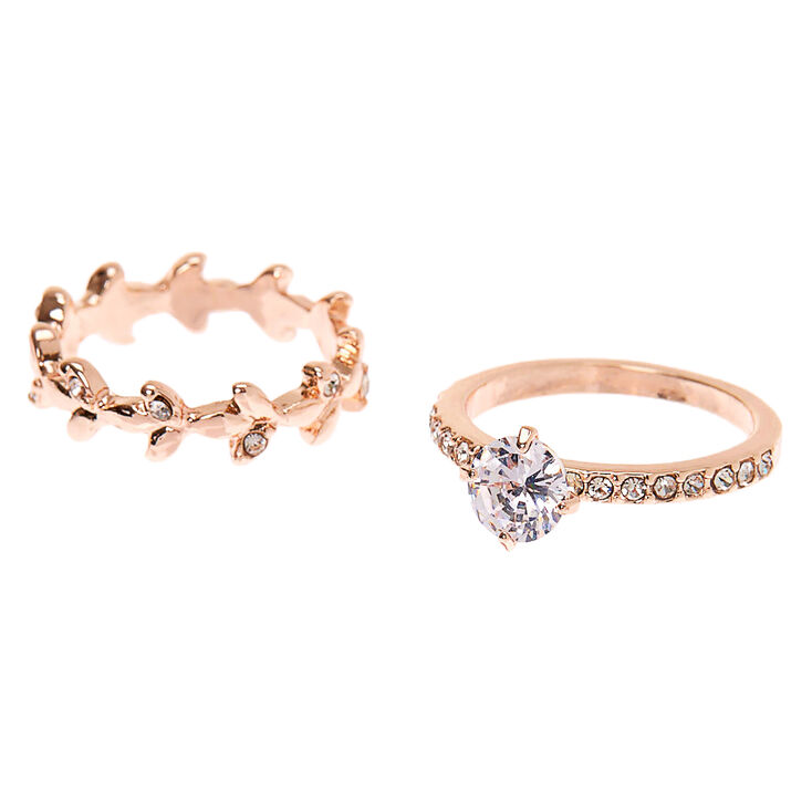 Rose Gold Cubic Zirconia Leaf Rings - 2 Pack,