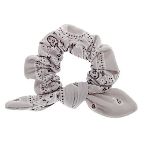Small Bandana Knotted Bow Hair Scrunchie - Light Gray,
