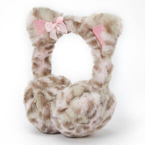 Claire's Club Plush Leopard Ear Muffs - Pink,
