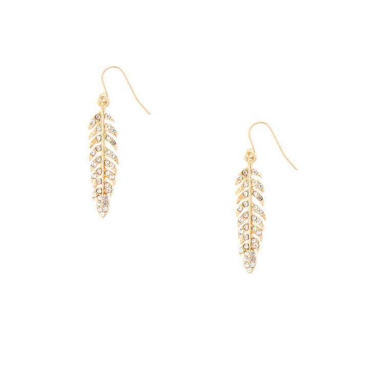 Crystal And Gold Leaf Drop Earrings