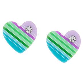 Sterling Silver Pastel Striped Heart Stud Earrings