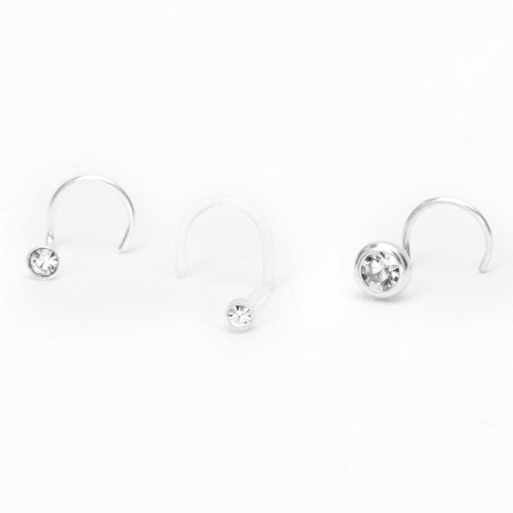 Sterling Silver 22G Crystal Bezel Nose Studs - 3 Pack,