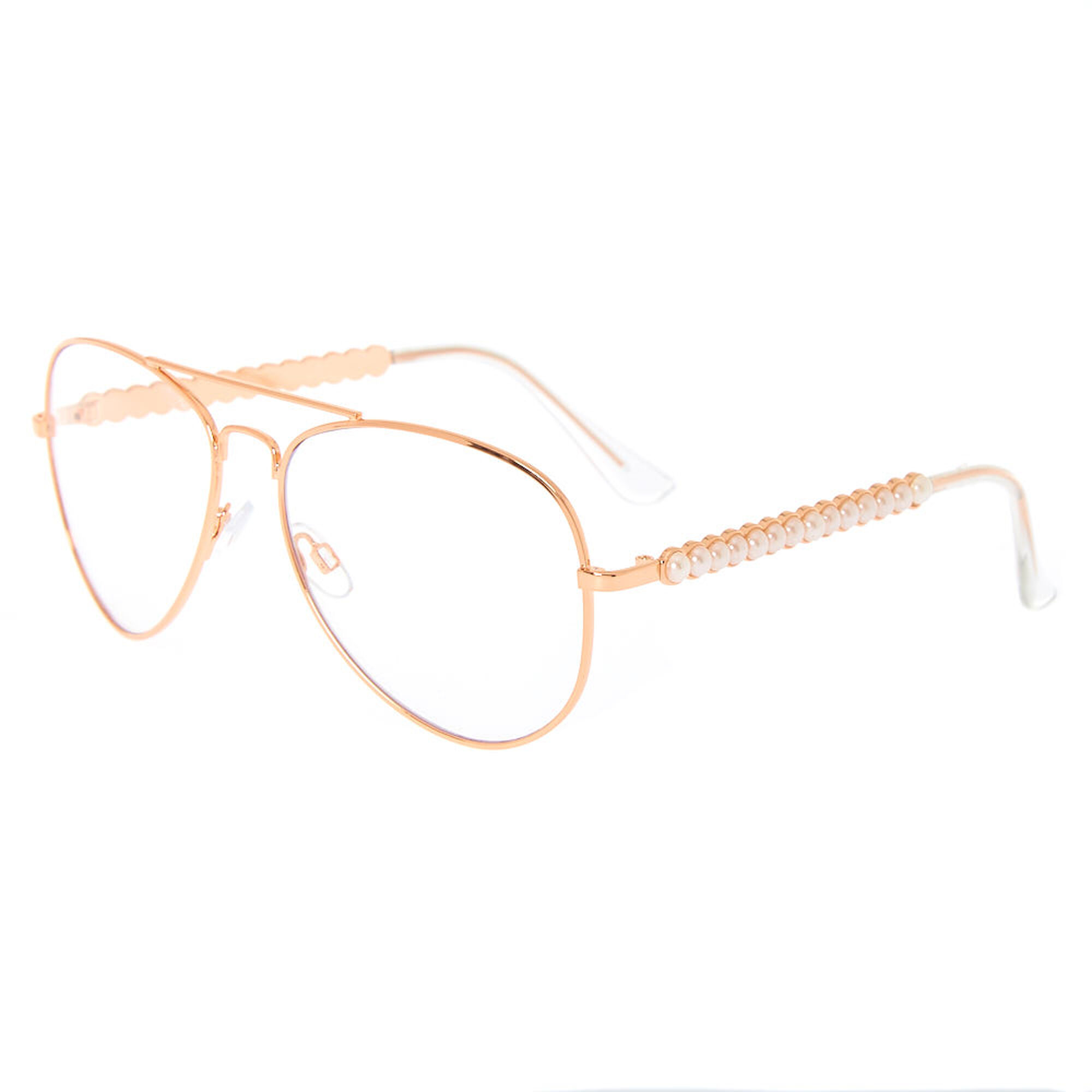 Pearl Rose Gold Aviator Frames | Claire\'s US