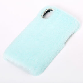 Mint Faux Fur Phone Case - Fits iPhone XR,