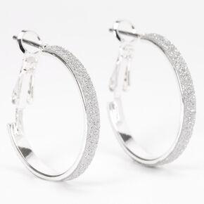 Silver 20MM Thin Glitter Hoop Earrings,
