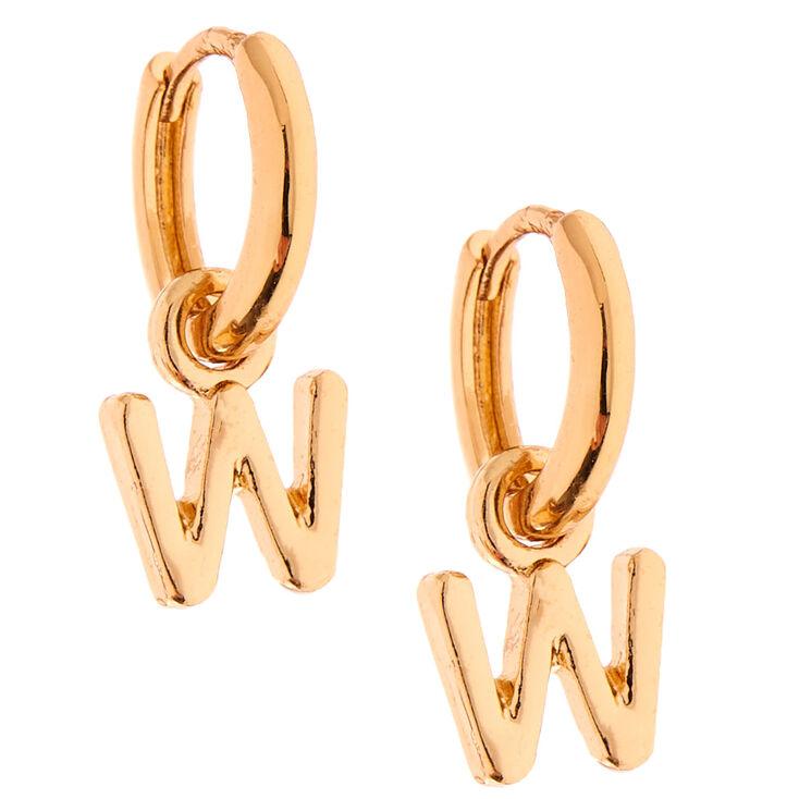 Gold 10MM Initial Huggie Hoop Earrings - W,