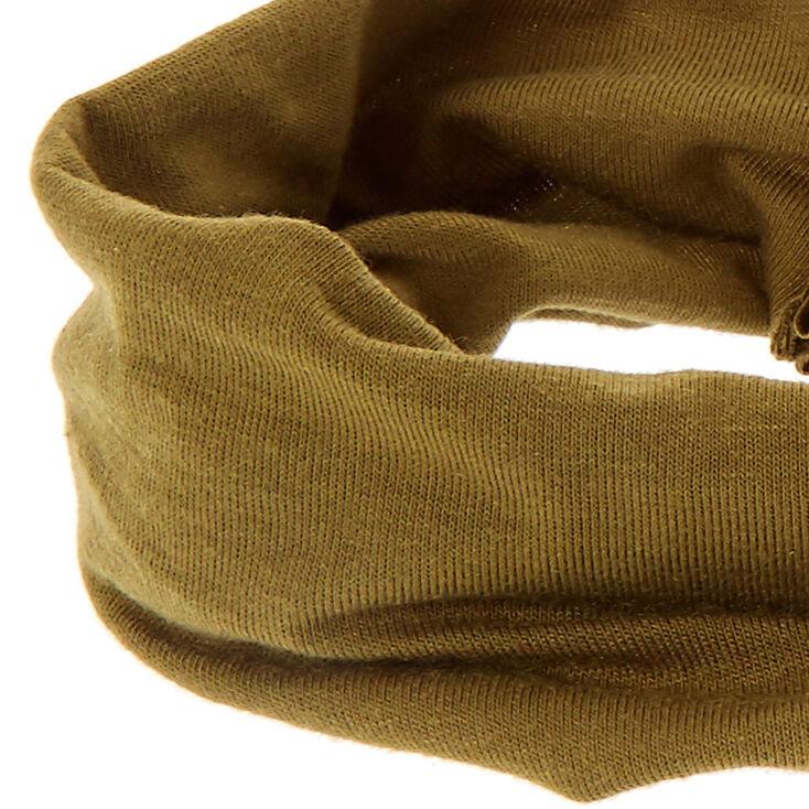 Bandeau tricoté en jersey vert olive,