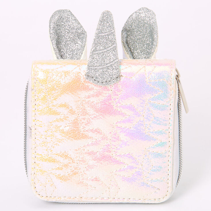 Iridescent Quilted Uniorn Mini Zip Wallet - White,
