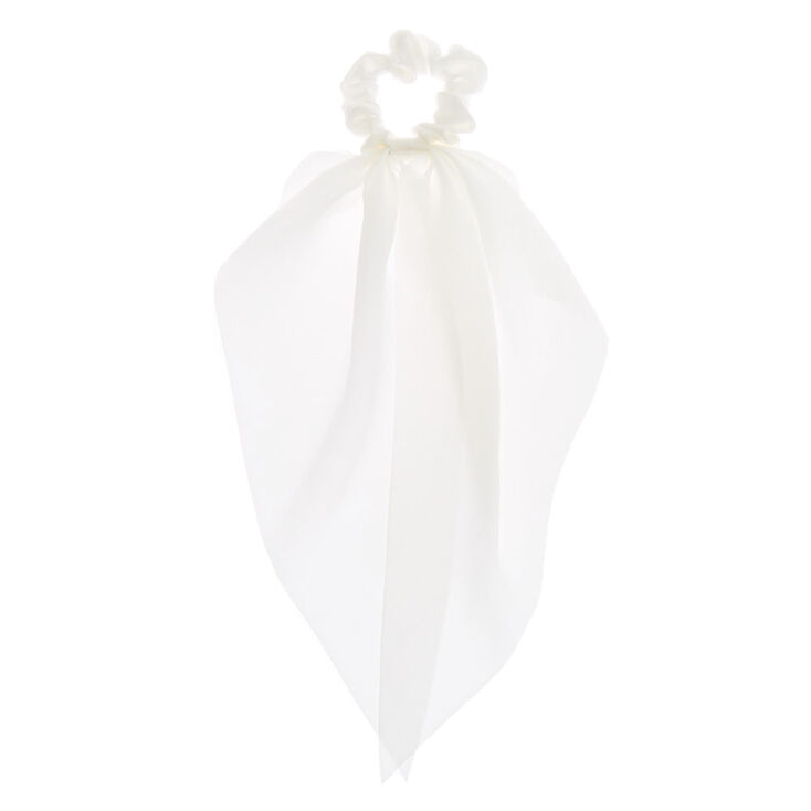 Small Hair Scrunchie Scarf - White,