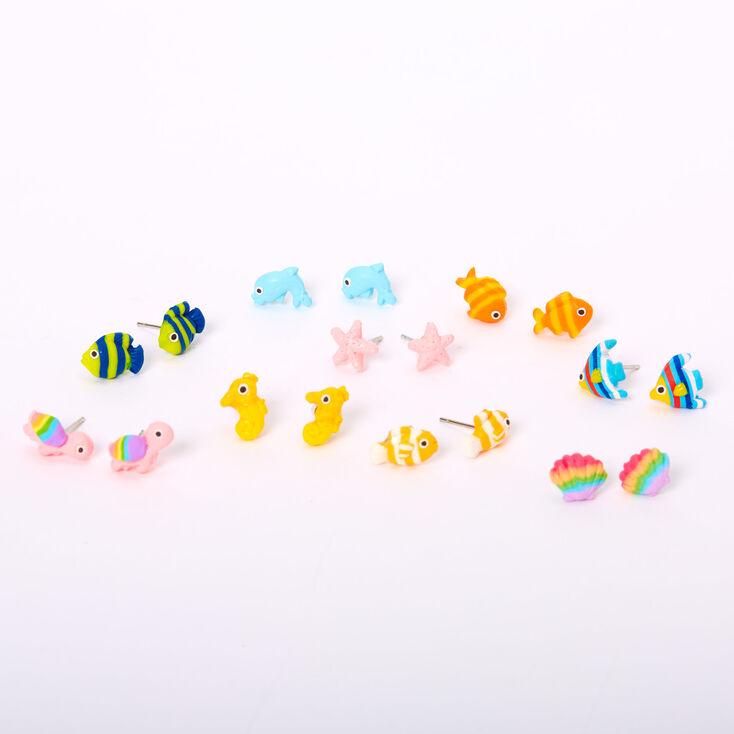 Clous d'oreilles petits animaux marins arc-en-ciel couleur argentée - Lot de 9,