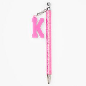 Initial Charm Glitter Pen - Pink, K,