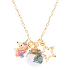 Gold Magic Confetti Charm Pendant Necklace,