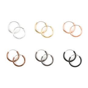 Mixed Metal Mini Hoop Earrings - 6 Pack,