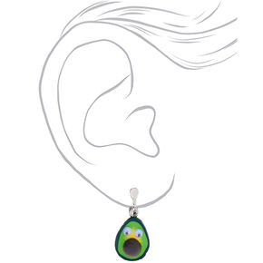 "Silver 1"" Avocado Clip On Drop Earrings - Green,"