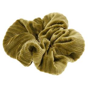 Medium Ribbed Velvet Hair Scrunchie - Green,
