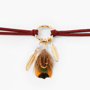 Gold Feather Suede Choker Necklace - Burgundy,