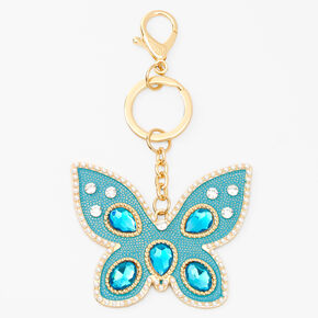 Gold XL Butterfly Keychain - Blue,