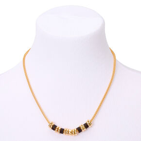 Gold Glitter Ring Statement Necklace - Black,