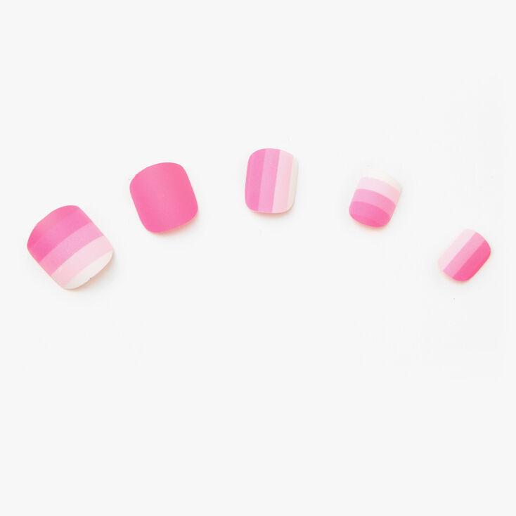 Matte Stripe Square Press On Faux Nail Set - Pink, 24 Pack,