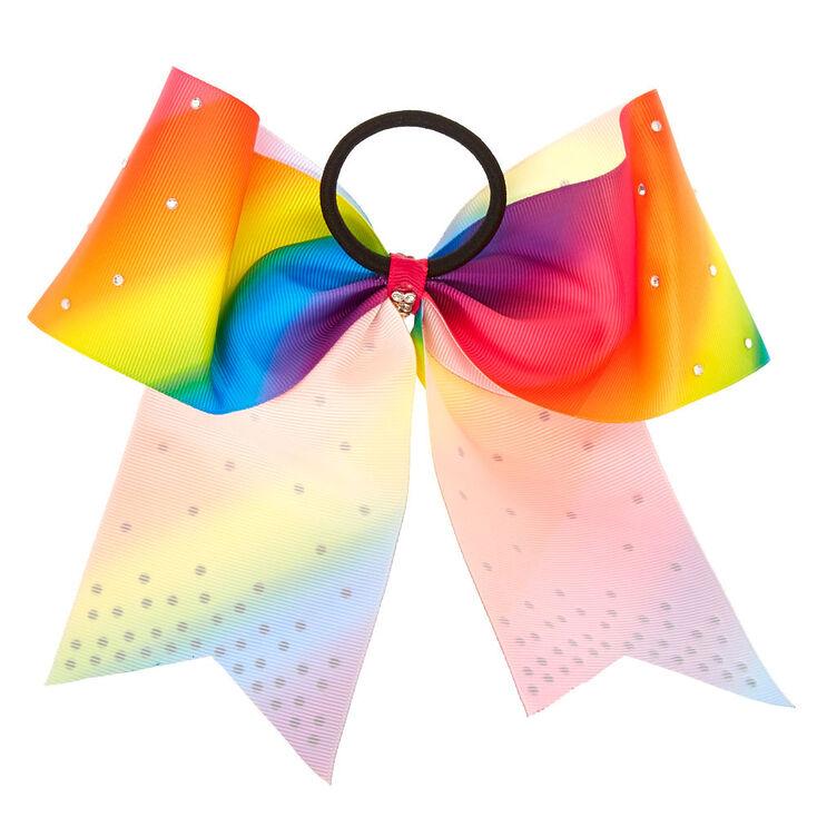 Rainbow Rhinestone Cheer Bow Hair Tie,