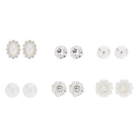 Silver Crystal & Pearl Mixed Stud Earrings - 6 Pack,