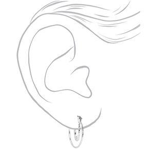 Silver 20MM Laser Cut & Hammered Double Hoop Earrings,