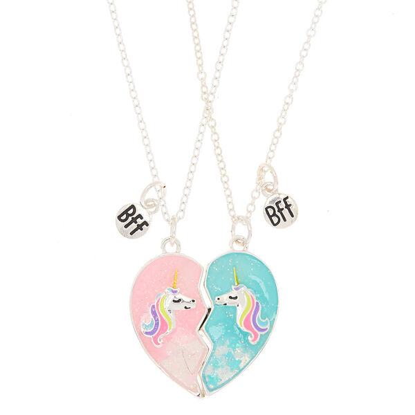 Claire's - best friends unicorn heart pendant necklaces - 1
