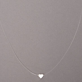 Silver Heart Illusion Pendant Necklace,