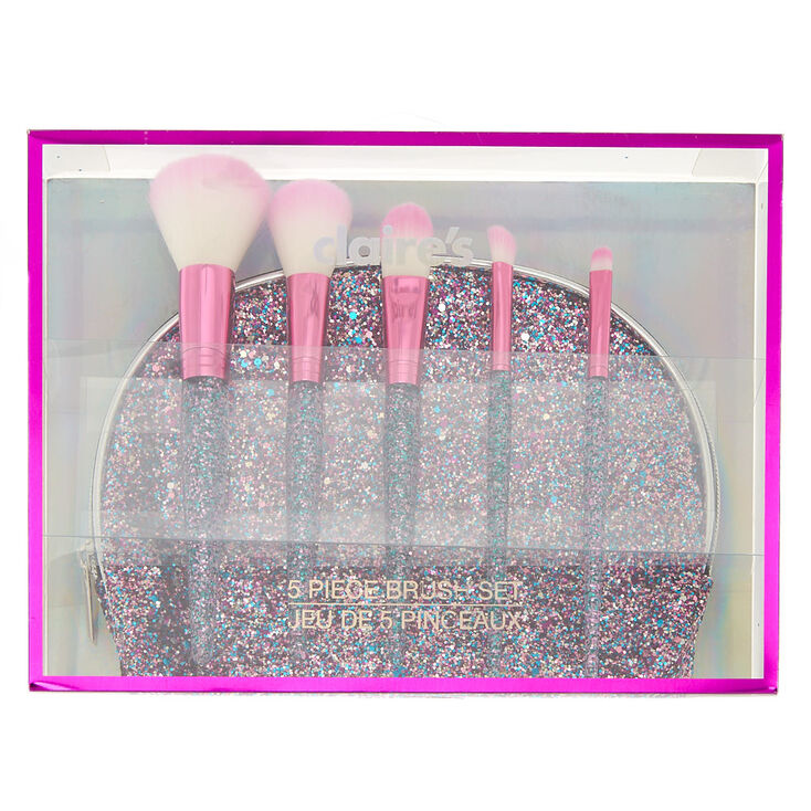Glitter Makeup Bag And Brush Set Pink