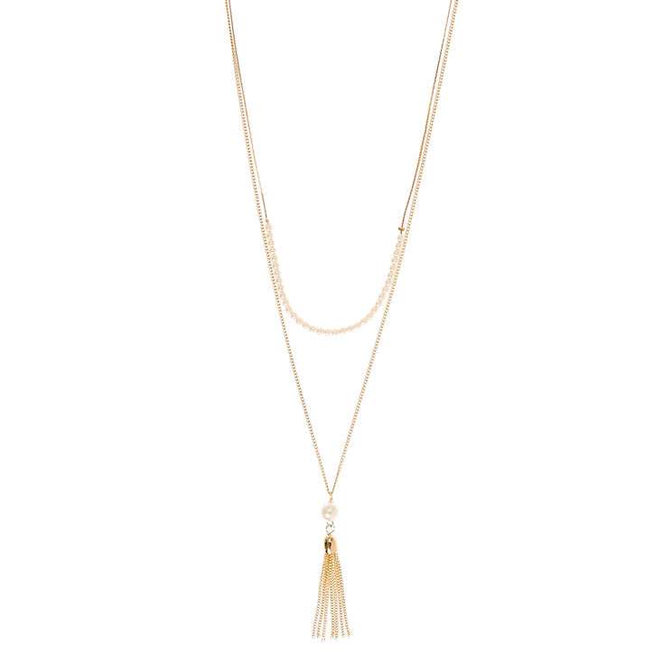 Collier couleur doré à deux rangs avec perle d'imitation et pampille,