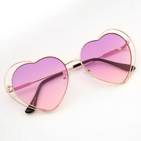 Gold Double Heart Sunglasses - Purple,