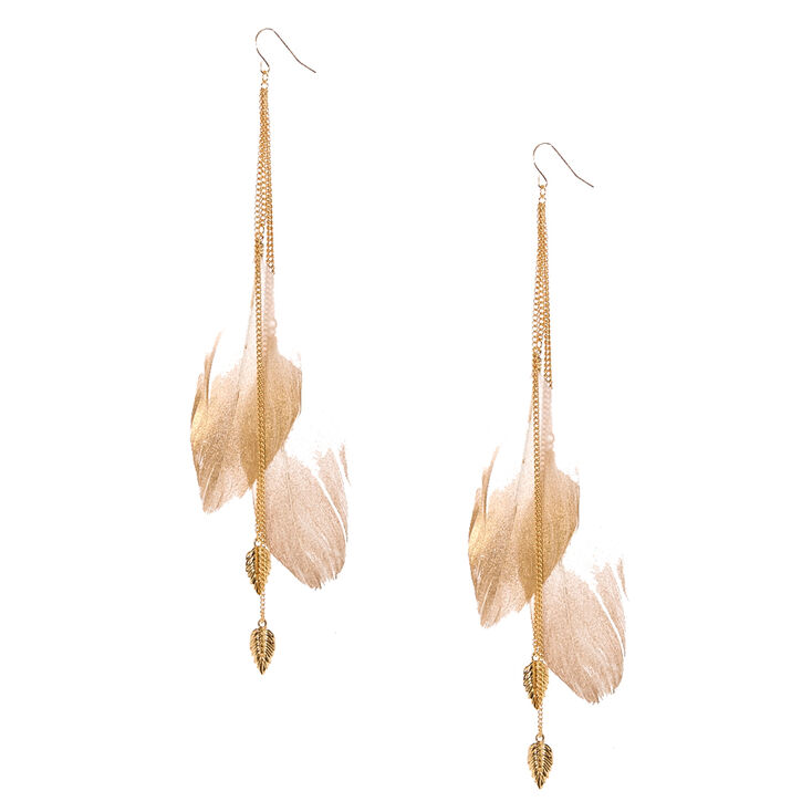 Gold-tone Chain & Large Ivory Feathers,