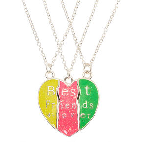 Best Friends Neon Glitter Heart Pendant Necklaces - 3 Pack,