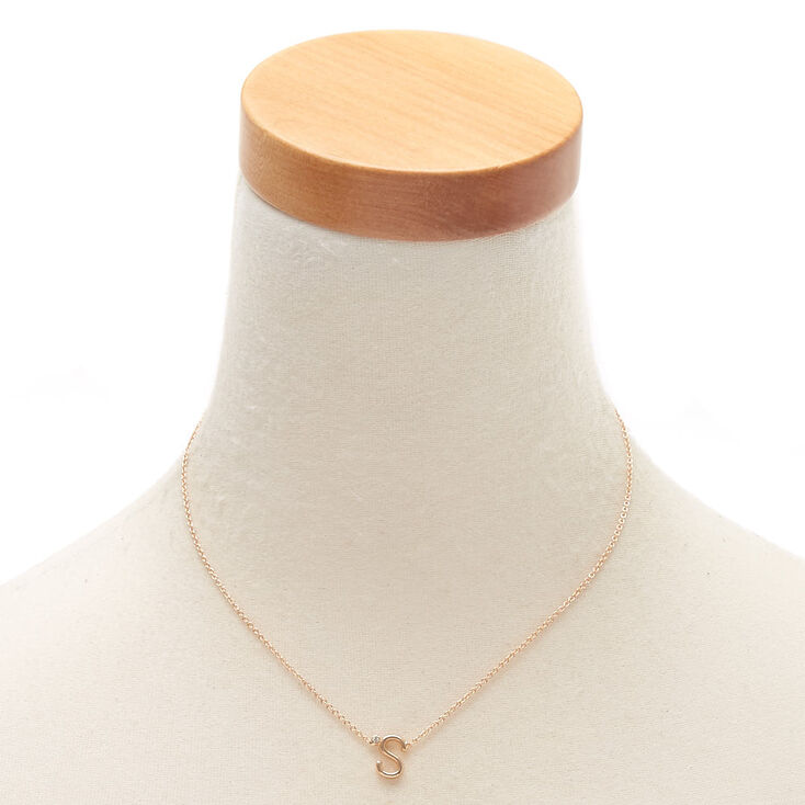 Gold Stone Initial Pendant Necklace - S,