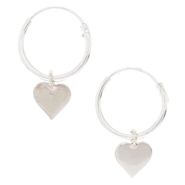 Sterling Silver 12mm Heart Hoop Earrings