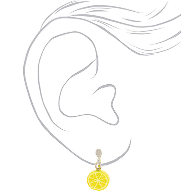 Boucles d'oreilles à clip fruits à paillettes - Lot de 3,