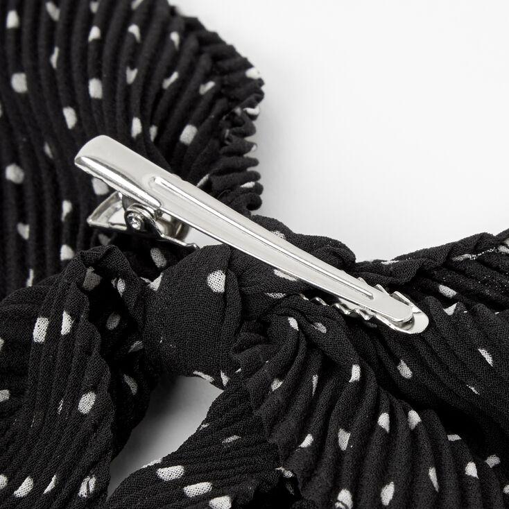 Barrette à nœud à pois plissé - Noir,