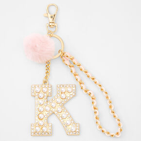 Gold Bling Initial Pom Pom Keyring - Pink, K,
