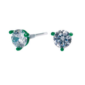 Sterling Silver Cubic Zirconia 5mm Round Stud Earrings Green
