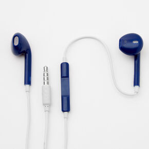 Matte Earbuds with Mic - Navy,
