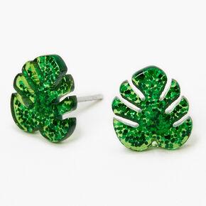 Glitter Palm Leaf Stud Earrings - Green,