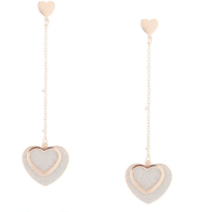 Rose Gold Sparkly Star Drop Earrings,