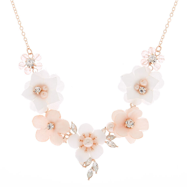 Rose Gold Rhinestone Pearl Floral Statement Necklace Blush