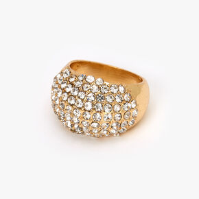 Gold Embellished Pave Dome Ring,